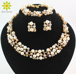 $enCountryForm.capitalKeyWord Canada - 18K Gold Plated Pearl Austrian Crystal Jewelry Sets Vintage Fashion Necklaces For Women Imitation Wedding Accessories