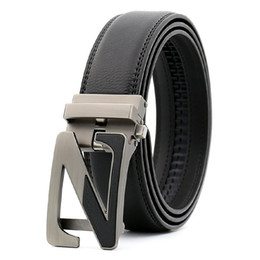 Z Buckle Leather Belt UK - New High luxury designers Men's Z Alloy agio automatic buckle black belt Designer Belts of men jeans belt