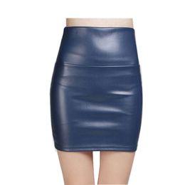 short faux leather skirt 2019 - Wholesale- 2017 New Fashion Women Faux PU Leather Skirt High Waist Party Clothing Female Short Pencil Woman Skirts Saias