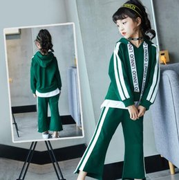 Barato Outono Roupa Casual-Big Girls New Casual Clothing Outono Hoodies + Loose Pant 2Pcs 100% Cotton Clothes Sets Verde / Black Color Children Fashion Cloth
