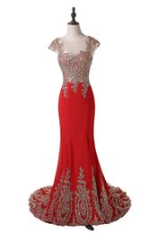 Barato Vestido De Chiffon Vermelho Ouro-Hot Selling Luxury Red Prom Dresses Cap Sleeve Jewel Neck Beaded Sequins Gold Appliques 2015 Mermaid Party Gown Custom Made P175