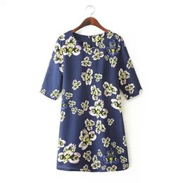 Robes Jaunes En Jersey De Taille Pas Cher-Femmes Floral Yellow Fashion Print Dress Casual robe Printemps plus de Streetwear Fille Taille XXXL robe Vintage