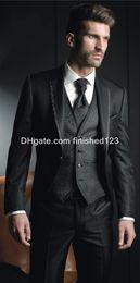 sky blue color tuxedo 2019 - Hot Sale Slim Fit One Button Black Groom Tuxedos Notch Lapel Groomsmen Best Man Mens Wedding Suits (Jacket+Pants+Vest+Ti