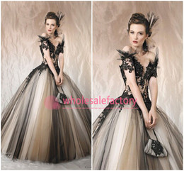 wedding dresses sposa 2019 - 2017 Gorgeous Cherie Sposa Ball Gown Wedding Dresses Off the Shoulder Appliques Beads V Neck Backless Black Champagne Br