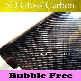China 5D Gloss Carbon Fiber Vinyl Wrap High Glossy 5D Carbon Wraps like real Carbon with Air Bubble Free For Car Wrap Size:1.52*20M Roll cheap gloss black vinyl film suppliers