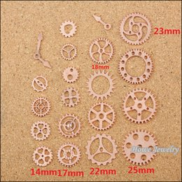 $enCountryForm.capitalKeyWord Canada - 100 pcs Vintage Charms Rose Gold Steam punk Gear Pendant Antique silver Fit Bracelets Necklace DIY Metal Jewelry Making 20053Jewelry making