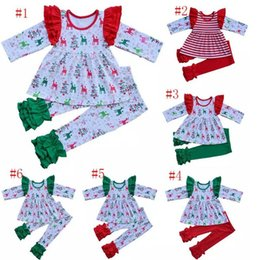 girls ruffle pant suits 2019 - Thanksgiving Christmas children girls Clothing Sets ruffle top+pants 2pcs set Baby stripe deer printing suit 22 colors B