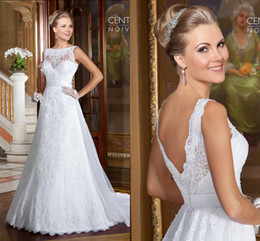 modern wedding dresses online 2019 - Backless Lace Online Wedding Dresses 2016 Spring Lace Appliques A Line With Beads Button Back Formal Bridal Gowns Vestid