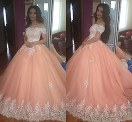 Wholesale sweets bones online – design Sweet Peach Quinceanera Dresses Off Shoulder Appliques Puffy Corset Back Ball Gown Princess Years Girls Prom Party Gowns Custom