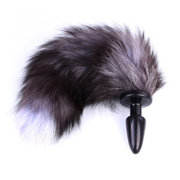 Tapones De La Cola De Los Animales Baratos-Fetish Black Silicone Anal Plug Tail Animal Role Play Cat Tail Cosplay Butt Plug con Realistic Fox Tail Sex Machine para Mujeres q171110
