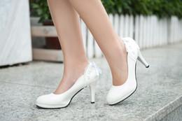 adhesive coating 2019 - Black pink white PU women's Coat of paint shoes Bud silk bowknot Wedding shoe Dress shoes 34-39 cheap adhesive coat