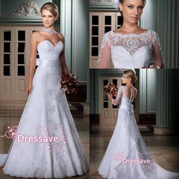 Wholesale Hot Sale Wedding Dresses Sexy Vintage V Neck Long Sleeve Applique Lace Tulle Button Covered Back A Line Bridal Gowns LT101