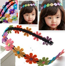 Discount headbands sunflowers hair - Cute Children Baby Hair Band Girl Colorful Sunflower Lace Flowers Headband