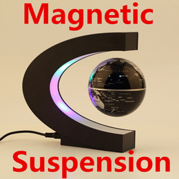 Levitation Floating Globe Canada - Magnetic Levitation Floating Globe World Map Display Magnets Suspension Tellurion 3 inch LED Light Anti Gravity Earth Toys Home Decoration