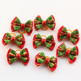 Barato Grooming, Arcos, Fitas-Loja Armi Handmade Christmas Striped Ribbon Rubber Bands Pet Bow 25012 Dog Grooming Supplies Small Wholesale