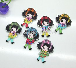 Couture Kawaii Pas Cher-100pcs 2 trous Turban de Naughty Little Girl Boutons en bois coudre Accessoires Kawaii Cabochons bricolage scrapbooking Artisanat du bois