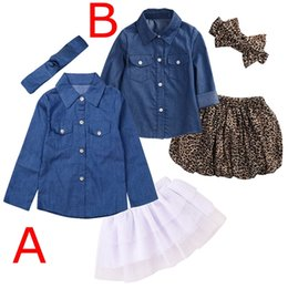 Barato Saias 6t-INS Baby Girls Denim Leopard Fashion Set Vestuário Crianças Camisas de manga comprida Top Shorts Saia Bow Headband 3PCS Outfits Kid Tracksuit