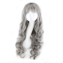 Wig Grey Canada - WoodFestival grey wig with neat bangs long curly synthetic wig natural wavy cheap wigs grandmother gray wigs
