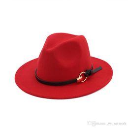 China New Fashion felt jazz hats Classic TOP hats for men women Elegant Solid felt Fedora Hat Band Wide Flat Brim Stylish Trilby Panama Caps suppliers