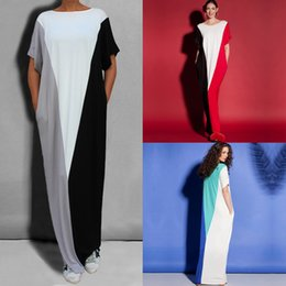 Barato Senhoras Manga Longa Maxi Vestido-Hot New Summer Beach Casual Womens Ladies Bat Sleeve Loose Long Maxi Party Dress Plus Size