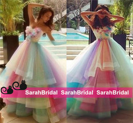 Barato Vestidos Coloridos Para Baile-Colored Youthful Party Wear para adolescentes Juniors 2016 Colorful Rainbow Tulle Prom Dresses Princess Ball Style Cocktail Vestidos de ocasião formal