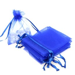 Plastic Drawstring UK - 7x9cm Dark Blue Organza Jewelry Popular Gift Bags Small Drawstring Pouches Tulle Bags Customed Logo Printed 100pcs lot Wholesale