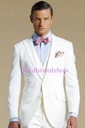 Custom Make Clothes Canada - Brand New Notch Lapel WhiteTailcoat Trim Fit Groom Tuxedos Men's Wedding Dresses Prom Clothing Custom Made(Jacket+pants+Vest)NO366