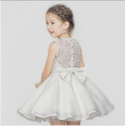 Party Dress Big Bow Baby Canada - High quality Lace Girl Dresses Children Dress Party Summer Princess Baby Girl Wedding Dress Birthday Big Bow Pink For 100-140 BH2295