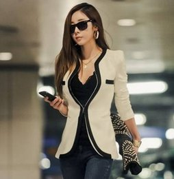 Barato Jaquetas De Inverno Preto Branco-2014 New Fashion Winter Mulheres Slim Casaco Blazer Revestimentos casuais V-Neck manga comprida Black White One Button Suit OL Outerwear