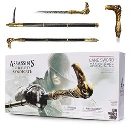 Nuevo Asesino Credo Cosplay Baratos-Nuevo NECA Assassin's Creed Sindicato Sword Cane Cosplay Weapon Jacob Frye Cane Hidden Blade PVC figura de acción Toy Toy
