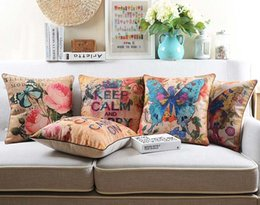$enCountryForm.capitalKeyWord Canada - European Vintage Style Cushion Cover Watercolor Letters Keep Calm Floral Flower Butterfly Cushions Pillows Covers Linen Cotton Pillow Case
