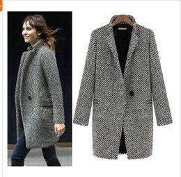 Abrigos De Invierno De Moda Europea Baratos-2014 Diseño New Spring / Winter Trench Coat Mujeres Gris Mediano Largo Oversize Warm Wool Jacket European Fashion Overcoat