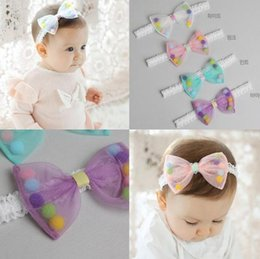 wholesale girls hair balls NZ - New Lovely Baby Hair Bow Candy Color Girl Infant Kids Adorable Lace Hair Bands Balls Children Hair Accessories Pretty Headbands 10826