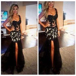 Barato Vestidos De Noite Uma Fenda Do Ombro-Sexy One Shoulder Lace Black Prom Dress Slim Beaded Mermaid Side Slit Tulle Long Evening Party Vestido Custom vestidos de festa 2018
