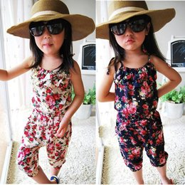 Girls floral jumpsuit suspender trousers online shopping - 2017 baby clothes Girl s Floral Jumpsuit Suspender Trousers Pant Flower Print Kids Summer Outfit Jumpsuits K026