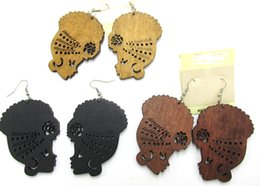 China Wholesale- Free Shipping! Afro Girl Women Wooden Earrings can mixed 3 colors cheap wholesale copper earrings suppliers