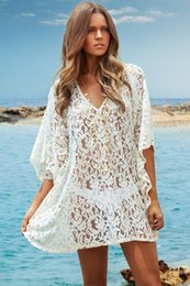 Cover Up Crochet White Canada - New Summer Sexy Deep V Neck Kaftan Sleeve Crochet Flower Lace Bikini Cover Up Hollow Swimwear Swimsuit White Beach Cover Up Dress 41129