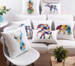 $enCountryForm.capitalKeyWord Canada - Color Animals Elephant Deer Cushions Geometric Art Pineapple Pillow Case Nordic Style Home Velvet Sofa Throws Cushion Cover 45x45cm, 30x50cm