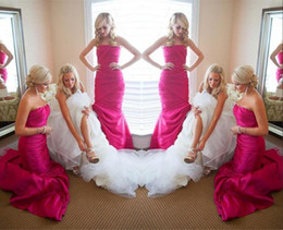 Discount pleated trumpet wedding gowns taffeta - Fuchsia Strapless Long Bridesmaid Dresses For Wedding 2019 Taffeta Ruffles Sweep Train Bridesmaid Gowns Sexy Backless Br