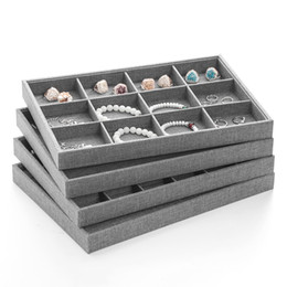 $enCountryForm.capitalKeyWord NZ - Gray Jewelry Tray Ring Necklace Earrings Display Trays with Compartments for Showcase Kiosk Booth Accessories Organiser 35*24cm