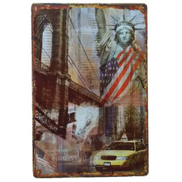 Rustic tin decoR online shopping - the Statue of Liberty USA Vintage Home Decor Retro Tin Sign Rustic Metal Plaque Cool Metal Plate Metal Poster