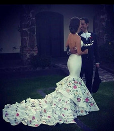 Flower Garden Wedding Dresses Spaghetti Straps Canada - Embroidery Mexico Mermaid Wedding Dresses Colorful Spaghetti Strap Open Back 2019 Tiered Satin Bridal Gowns Ruffles Cathedral Train Flowers