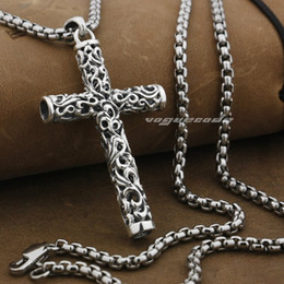 Mens sterling silver cross necklaces australia new featured mens cylinder cross 925 sterling silver mens biker rocker pendant 9f018necklace 24inch mozeypictures Image collections