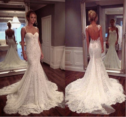 Discount garden tanks - New Sexy Backless Lace Mermaid Wedding Dresses 2015 Sweetheart Floor Length Tank Appliqued Backless Wedding Dresses Brid