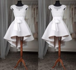 White dress fast shipping online shopping - 2018 Real Image White Short Homecoming Dresses Sheer Neck Cap Sleeves Appliques Lace Satin Custom Made High Low Prom Dresses Fast Shipping