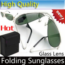 folding sunglasses 2018 - Top quality Folding Sunglasses glass Lens glasses Mens brand designer Sun glasses unisex Sunglasses Women's Folding