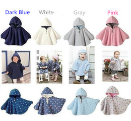 Wholesale gray poncho for sale - Group buy 4 colors infant double size capes children kids hoodies outwear with dots flower baby toddler reversible poncho cape J102703