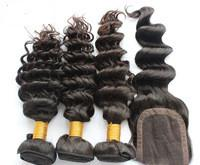 Chinese  Brazilian Virgin Hair Deep Wave Style 3Bundles With Free 4*4 Lace Closure Free Shipping Grade 6A manufacturers