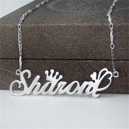 handmade personalized silver jewelry Canada - Wholesale- YiYaoFa Letter Necklace Name Necklaces & Pendants 925 Silver Jewelry Beauty Personalized Customize Gift Handmade Birthday Gift