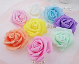 Venta al por mayor de Al por mayor-Alta calidad 100pcs / lot 7cm Foam Rose Head Artificial Fower Heads Mint Green Tiffany Blue Flowers Decoración de la boda